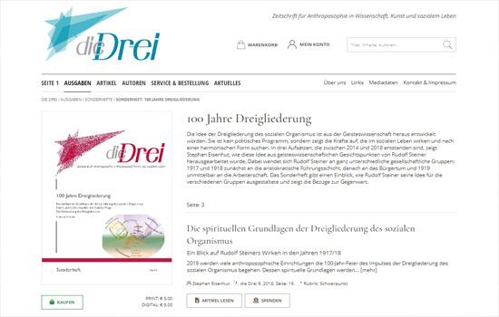 """Soziale Dreigliederung Zeitschrift """"Die Drei"""""""